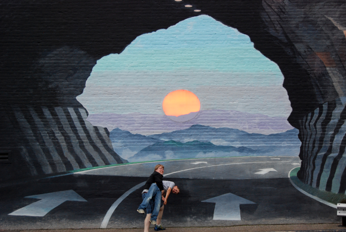 Mural by blue sky in columbia adventure patches